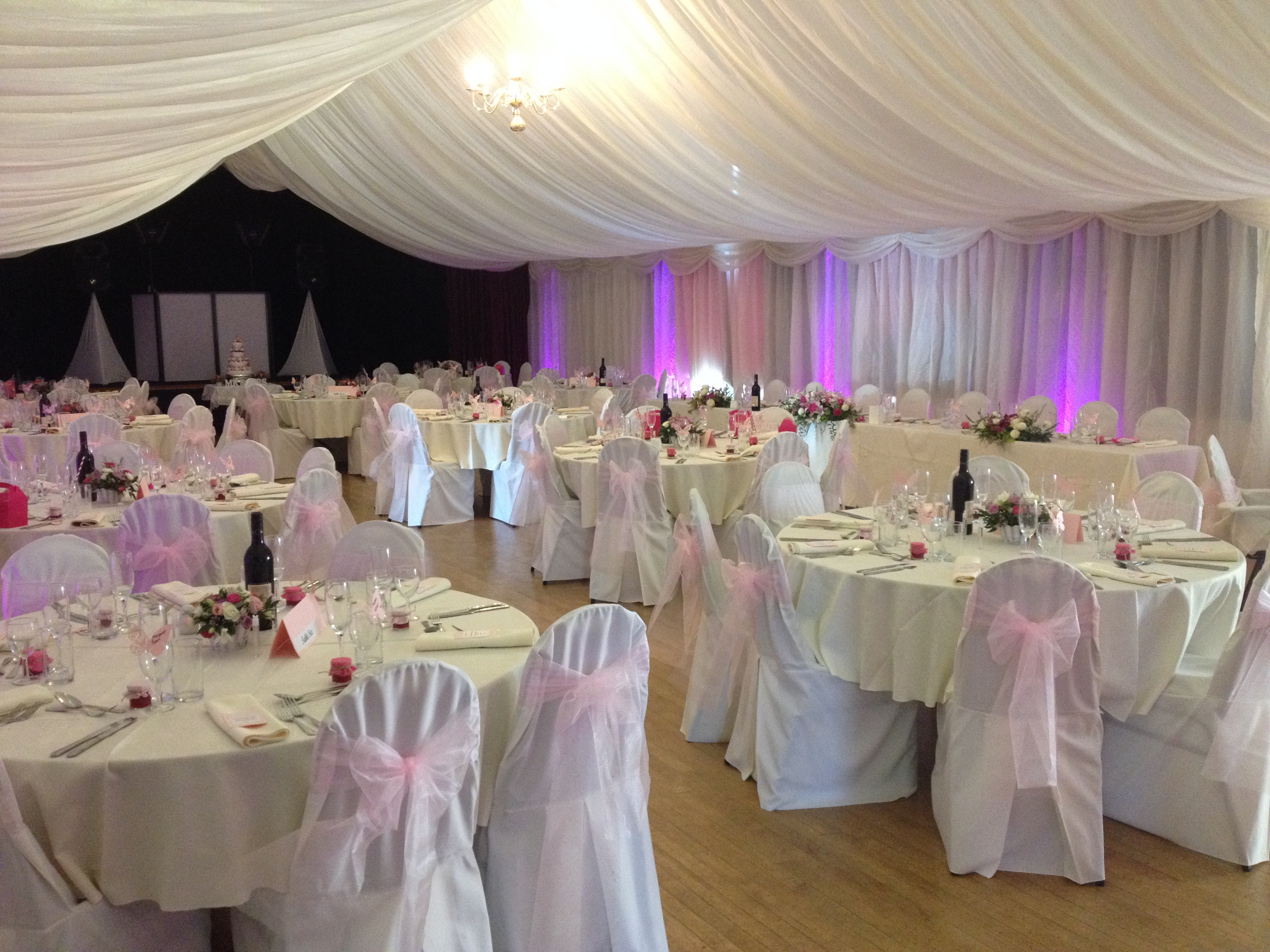 Ashover Parish Hall Events Centre decorated for Phil and Harriet's wedding