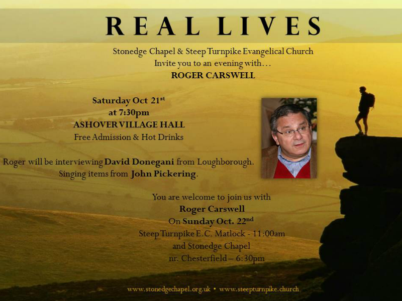 Real Lives  – an evening with travelling evangelist and author, Roger Carswell – 21 Oct